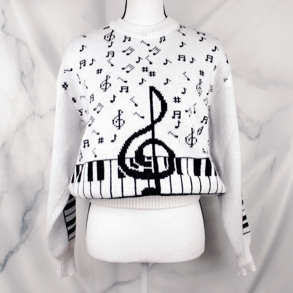 Vintage Sweaters - ✨VTG✨ 80s Music Note Sweater